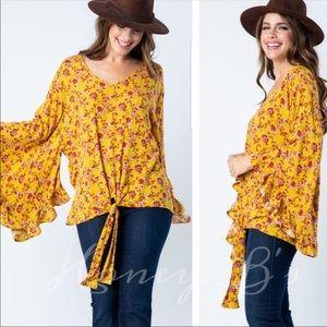 Retro Vibes Boho Floral Top Long Sleeves